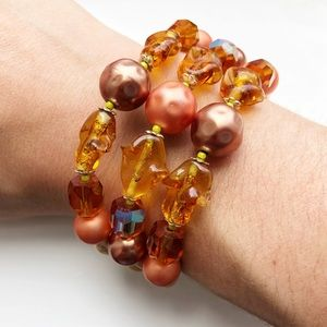 Brown & amber beaded open cuff stretch bracelet
